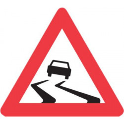 Advarselstavle Glat vej A31...
